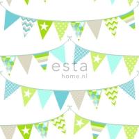 ESTA behang vlagjes groen blauw