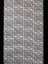 papier peint geometrique cercles brun avec fleur purpre