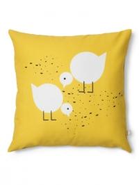 Juli geel kussen voor kinderen met vogels