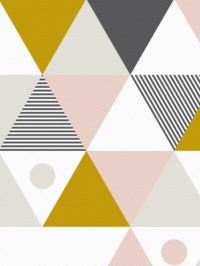 triangles pink grey ochre mural LAVMI