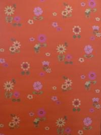vintage bloemenbehang oranje