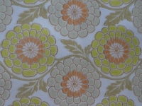 vintage bloemenbehang groen oranje