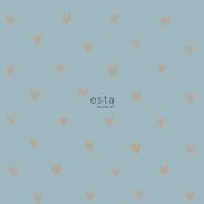 papier peint ESTA coeurs cuivre sur un fond bleu