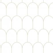 Wit gouden art deco behang met bogen