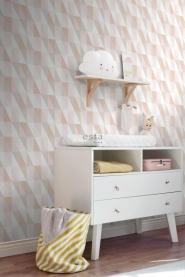 ESTA art deco wallpaper grey pink and beige triangles