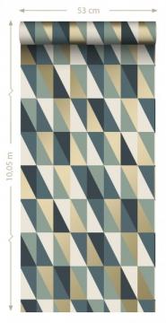 ESTA art deco wallpaper blue, green, gold triangles