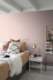ESTA art deco wallpaper pink with golden arches