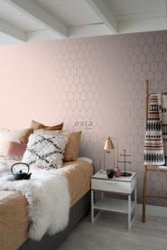 papier peint ESTA art deco arches rose et or