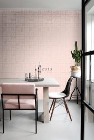 ESTA art deco behang zacht roze en goud