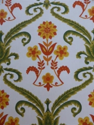 green damask with orange and red flowers