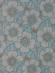 Vintage floral wallpaper with light blue and brown