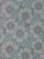 Papier peint vintage fleurs bleu et brun