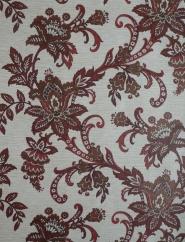 Papier peint vintage fleurs rouge et brun dessin paisley