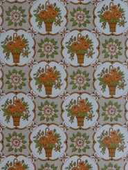 Papier peint vintage fleurs oranges dans une vase brun
