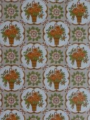 Vintage floral wallpaper with orange flowers in a brown vase
