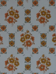 Vintage floral wallpaper with little orange flowers