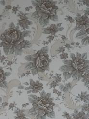 Vintage bloemenbehang met grijs-blauwe en bruine bloemen