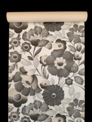 Vintage bloemenbehang met grote grijze bloemen