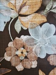 Vintage behang met bruine en grijze bloemen