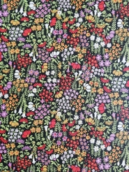 Vintage wallpaper with red, purple and white flowers