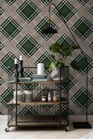 Premium wallpaper Checkered patchwork British green