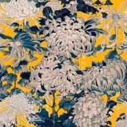 Luxebehang Chrysanten grijs geel