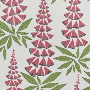 Miss Print wallpaper Foxglove green pink