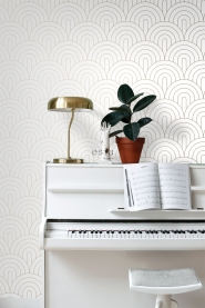 White with golden arches art deco wallpaper