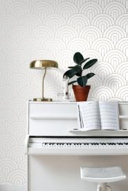 Papier peint arches blanc et or