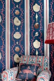 Papier peint de luxe Coquillage bleu
