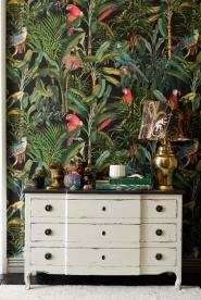 Papier peint de luxe Pérroquets Brésiliens Anthracite
