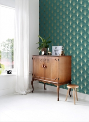 ESTA art deco wallpaper petrol blue and gold
