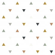 papier peint Lilipinso triangles, rose, moutarde, gris