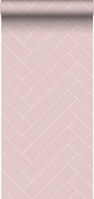 Pink-white chevron wallpaper
