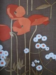 vintage bloemenbehang klaprozen