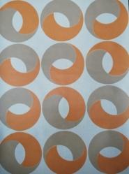 geometrisch vintage behang oranje beige ringen