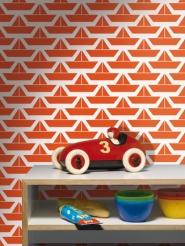 papier peint pour enfants LAVMI bateau rouge