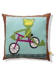 coussin pour enfants grenouille sur son vélo