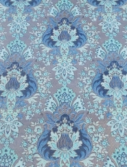 Blue and bronze floral damask vintage wallpaper