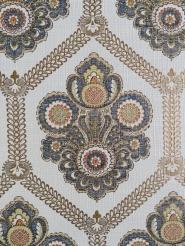 Blue and gold floral damask vintage wallpaper