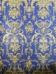 Blue and gold damask vintage wallpaper