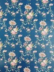Blue and pink damask vintage wallpaper