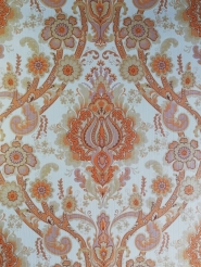 Papier peint vintage damassé orange