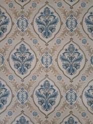 Papier peint vintage damassé beige bleu