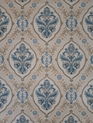 Beige blauw klassiek vintage behang