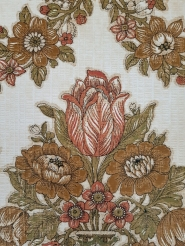 Rood groen klassiek vintage behang met tulpen