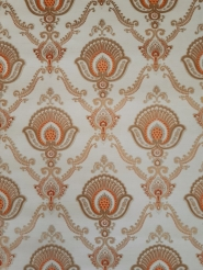 Papier peint vintage damassé orange et or