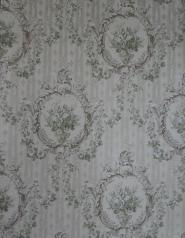 Papier peint vintage damassé beige vert