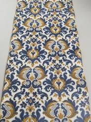 Papier peint vintage damassé bleu brun
