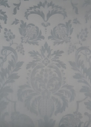 Blue-grey damask vintage castle wallpaper